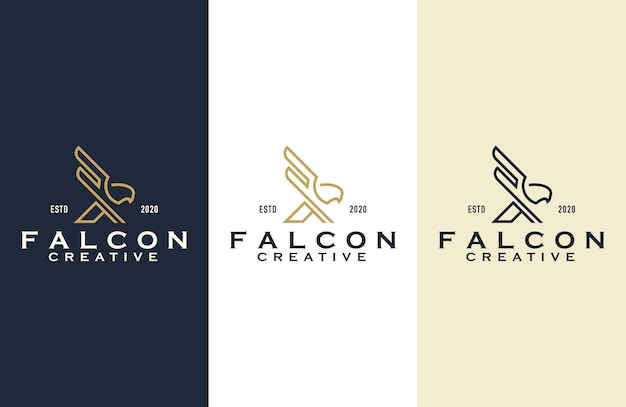 Falcon outline logo design illustration