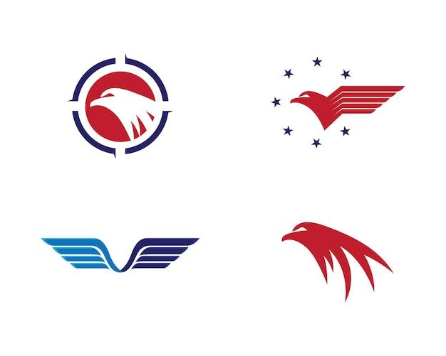 Дизайн иконок векторных логотипов falcon wing