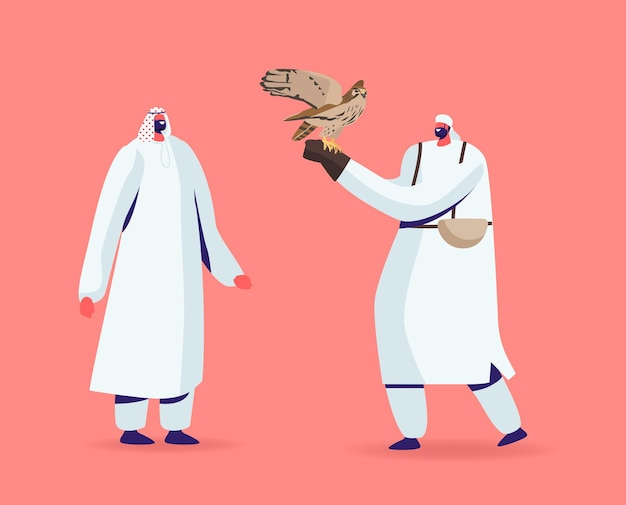 Концепция соколиной охоты. персонажи мужского пола в арабских платьях держат в руке дикого сокола