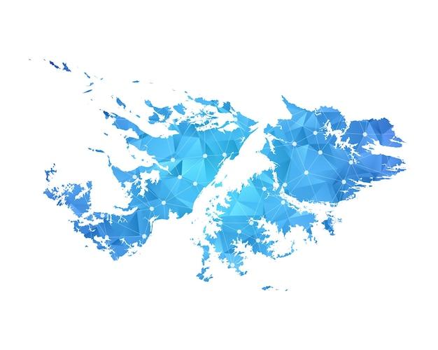 フォークランド諸島の地図の線の点多角形の抽象的な幾何学的。