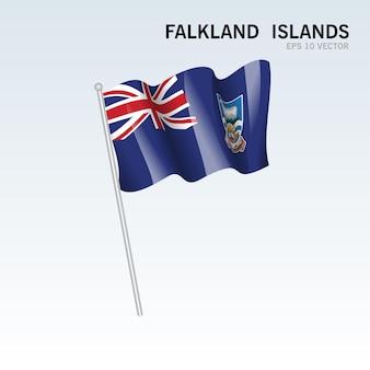 포클랜드 제도 회색에 고립 된 깃발을 흔들며