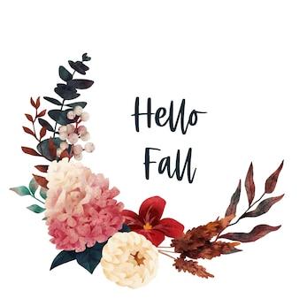 Fall bouquet floral autumn wreath hand drawn art