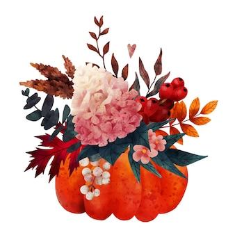 カボチャの花瓶の手描きのベクトルの秋の花束