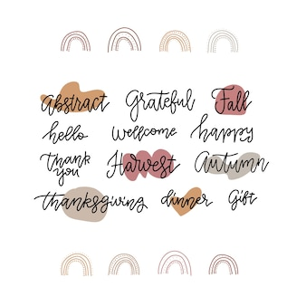 Fall calligraphy set. big collection of autumn quotes isolated.  linear lettering illustration with doodle arc decor.