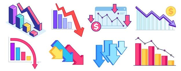차트 아래로 떨어지십시오. 금융 위기, 비즈니스 문제 및 경제 하락. 아래쪽 화살표 그래프, 손실 및 소득 감소.