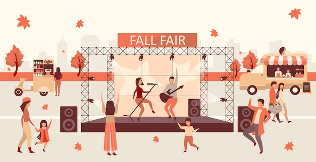 Fall fair flat illustration. autumn festival and thanksgiving day celebration. fall rock fest, carnival with street food trucks. rock singers on stage and concert visitors cartoon characters