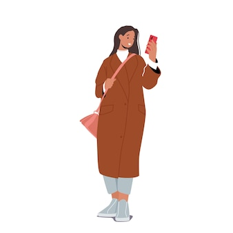 Fall fashion trends for women. stylish girl character wearing trendy outfit, long fashionable coat and shortened pants