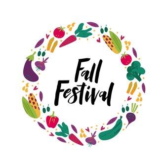Fall festival flat vector banner template. black ink hand drawn lettering. decorative vegetables doodle sketch. celebrating harvest gathering fest, festival poster, postcard design element