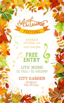 Fall festival template. bright colourful autumn leaves on vertical white background. copy space.