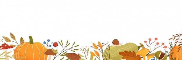 Fall flat background. autumn decorative horizontal illustration with pumpkins and place for text. dried leaves drawing isolated on white. fall season backdrop with forest foliage and berries.