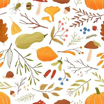 秋の平らなシームレスパターン。カボチャと秋の装飾的な背景。森の葉とキノコのテクスチャ。秋のシーズンの葉と果実の包装紙、テキスタイル、壁紙デザイン。