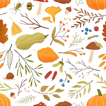 Fall flat seamless pattern. autumn decorative background with pumpkins. forest leaves and mushrooms texture. fall season foliage and berries wrapping paper, textile, wallpaper design.