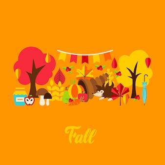 Fall greeting card. vector illustration. autumn seasonal concept.