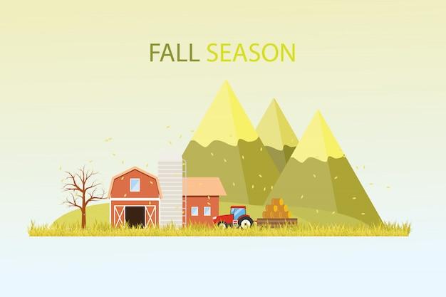 Fall harvest farming illustration