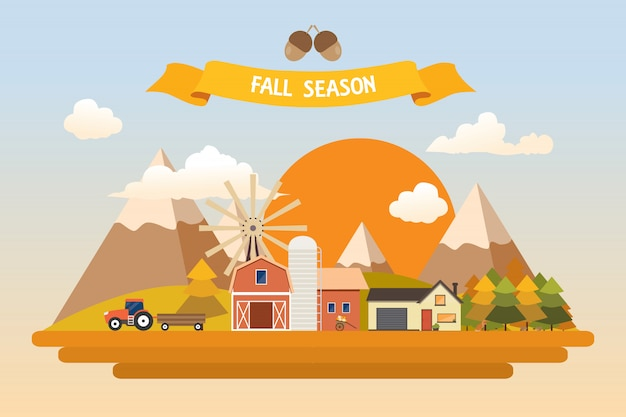 Fall harvest farming illustration