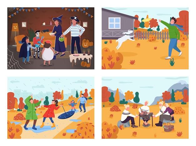 秋の休日の活動セミフラットセット。ハロウィーンパーティー。家族の絆の時間。遊ぶための都市の雨の公園。森でのピクニック。商業用コレクションの秋の2d漫画のキャラクター