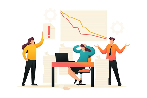 판매 감소, 패닉에 빠진 전문가 팀. 플랫 2d 캐릭터. 웹 디자인에 대한 개념입니다.