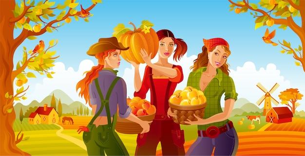 세 젊은 아름다운 농장 여자와 가을 풍경 배경. 사과 따기 및 수확 축제.