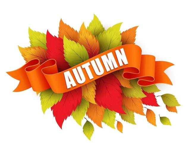 Осенний отпуск с лентой баннер. векторная иллюстрация eps 10