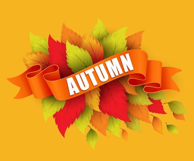 Осенний отпуск с лентой баннер