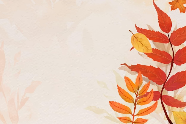 Fall leaves beige background vector
