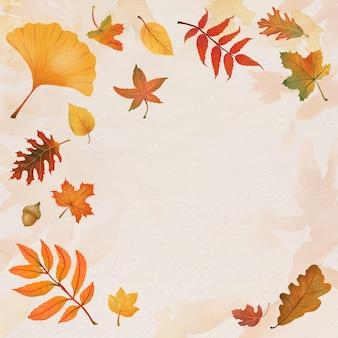 Fall leaves frame vector on beige background