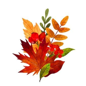 Осенние листья рисованной векторные акварельные иллюстрации