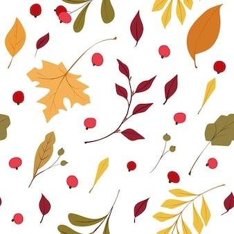 Осенние листья бесшовные модели осенние полевые цветы и клюква