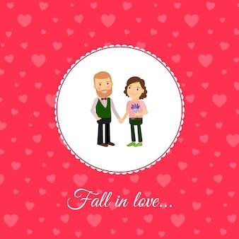 Fall in love couple card