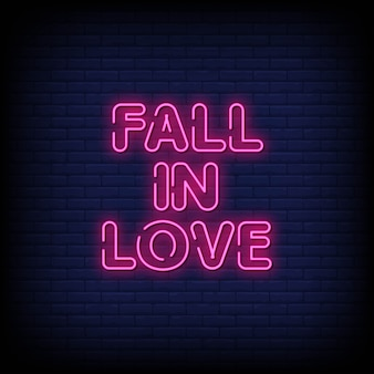 Fall in love neon signs style text
