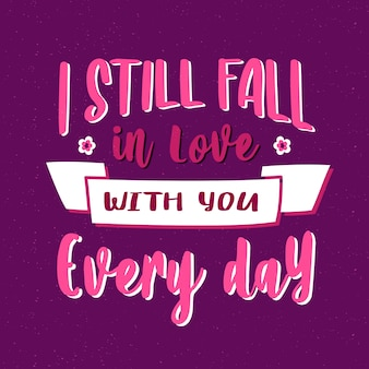 Fall in love with you text lettering