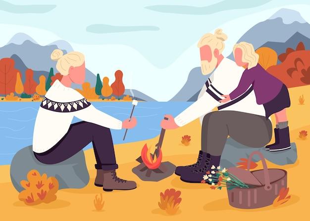 秋のピクニックフラットカラーイラスト。母と父は娘と一緒にマシュマロを焼きます。山腹での秋の休暇。北欧の家族2d漫画のキャラクターを背景に風景