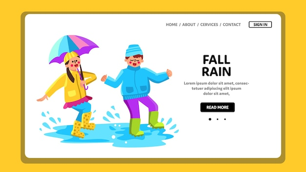Осенний сезон дождей дети прыгают в луже