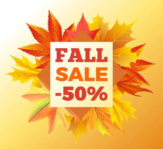 Fall sale -50% off autumn banner