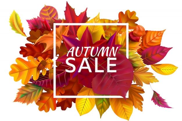 Осенняя распродажа. осенние распродажи, осенняя скидка и опавшие листья обрамляют иллюстрацию