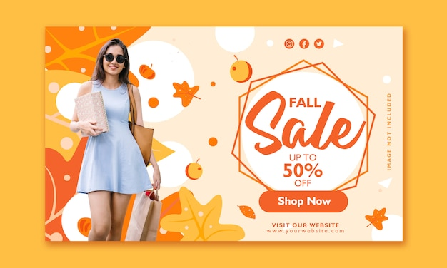 Fall sale banner design template