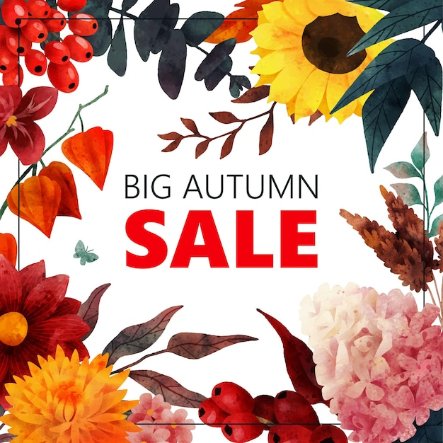 Fall sale banner with autumn floral elements