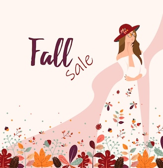 쇼핑 판매 또는 판촉 포스터 벡터 일러스트 레이 션에 대 한 단풍과 가을 판매 배너