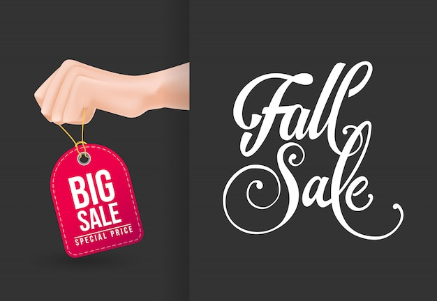 Fall sale, big sale lettering with hand holding tag