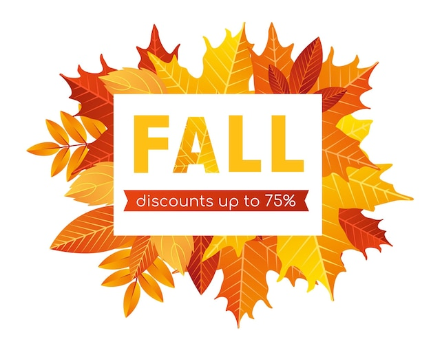 Fall sale lettering background cartoon flat discount offer promotion for shopping in fall web banner