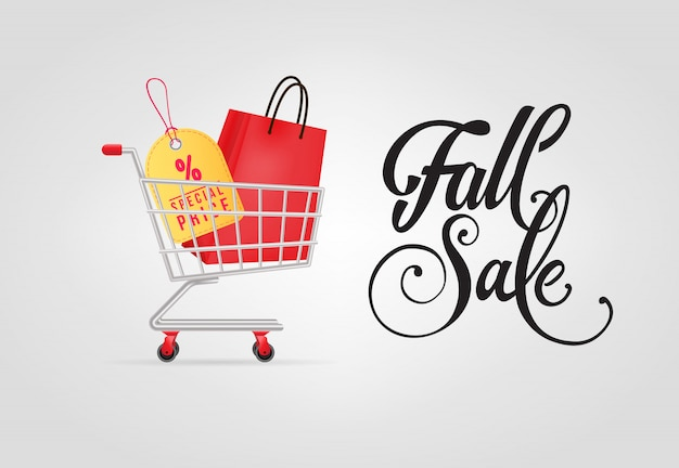Fall sale lettering with shopping bag and tag in cart