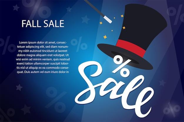 Осенняя распродажа - современные красочные векторные иллюстрации с каллиграфическим текстом и местом для вашей информации на синем фоне с процентами. изображение волшебной шляпы. черная пятница, концепция покупок