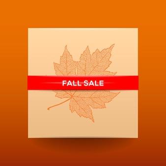 乾燥した葉とシンプルなテキストベクトルイラストと秋のセールポスターカード