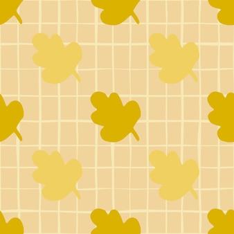 シームレスな秋の葉の抽象的なパターン。チェックとベージュ色の背景に黄色と黄土色の花の要素。壁紙、包装紙、テキスタイルプリント、ファブリックの装飾プリント。図。