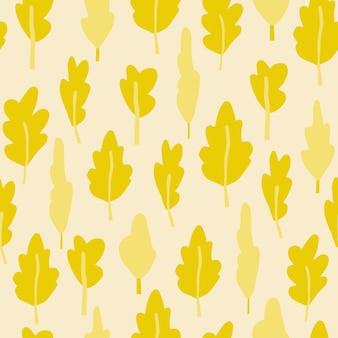 黄色の木のシルエットを持つ秋のシームレスなパターン。明るいパステル背景。シンプルな花の背景。