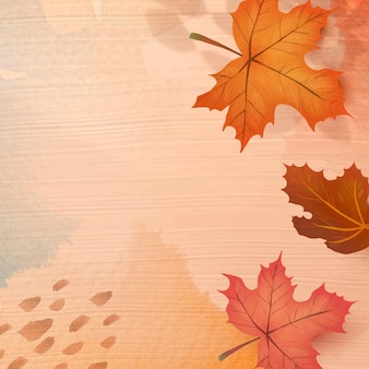 Fall season background vector with maple leaves