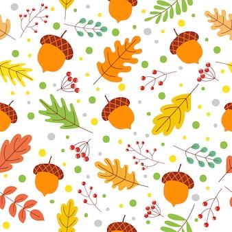 Fall season colors, fallen yellow leaf and autumnal acorns vector illustration