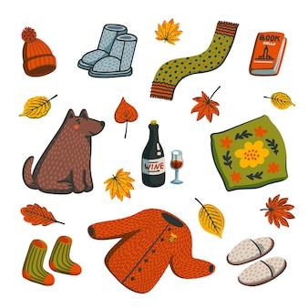 秋の季節の要素のステッカーパック