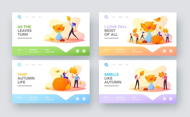 Fall season, outdoor activity landing page template set. tiny characters collect autumn bouquet of colorful fallen leaves, flowers and berries. people at huge ripe pumpkin. cartoon vector illustration