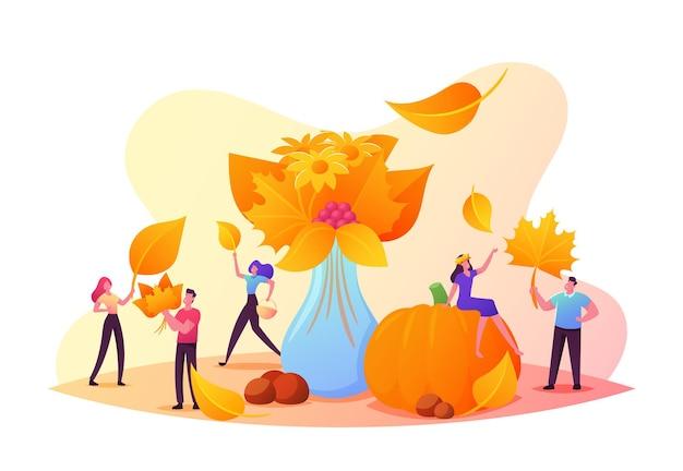 가을 시즌, 야외 활동. 다채로운 낙엽, 꽃, 열매의 가을 꽃다발을 수집하는 작은 남성과 여성 캐릭터. 거 대 한 익은 호박에 사람들입니다. 만화 벡터 일러스트 레이 션